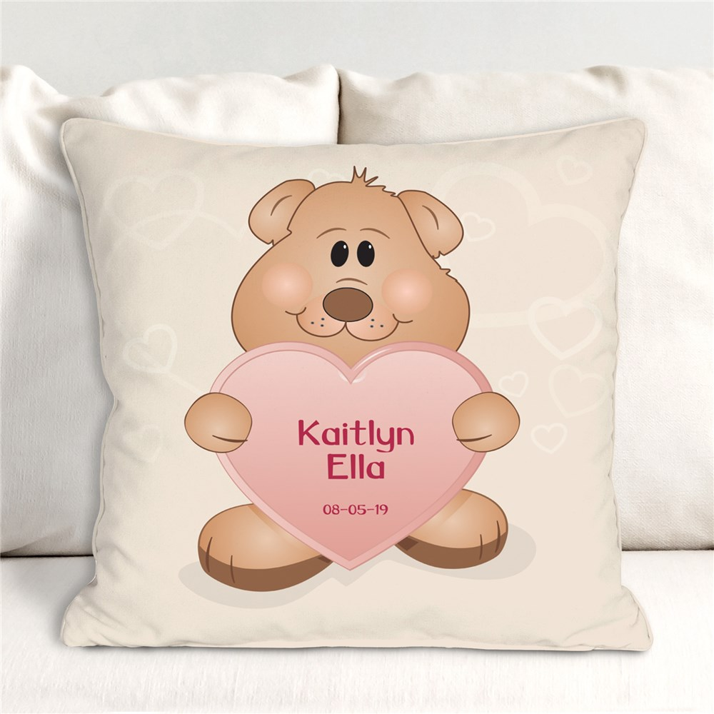 Teddy Bear New Baby Personalized Throw Pillow | Personalized Gifts For Kids