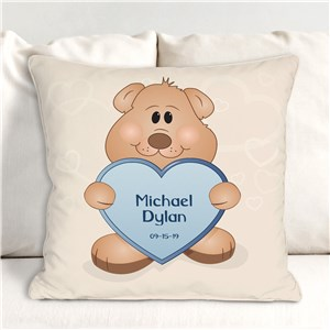 Teddy Bear New Baby Personalized Throw Pillow | Personalized Baby Pillows