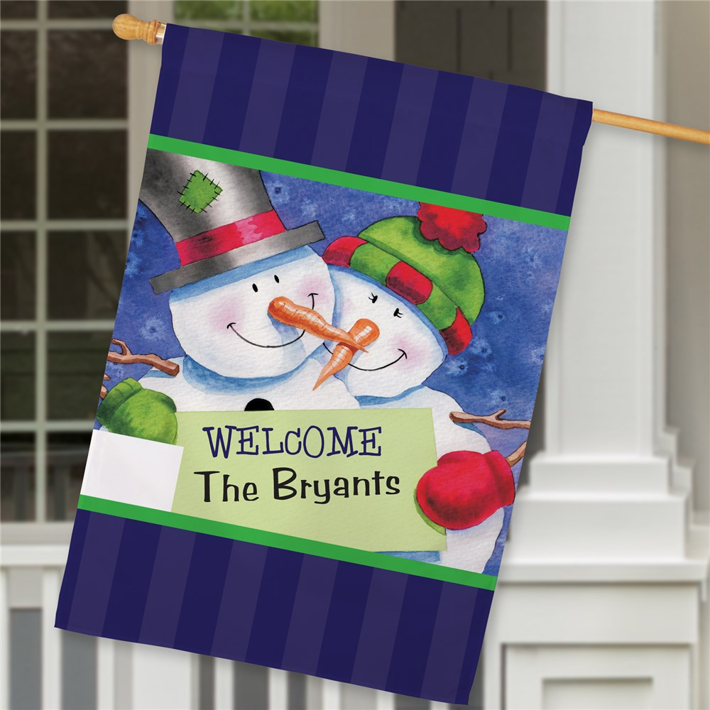 Personalized Snow Couple House Flag | Personalized Christmas Decorations