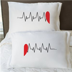 Heart Beats As One Personalized Pillowcase Set | Valentine Pillow Cases