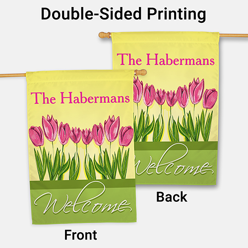 Personalized Spring Tulips House Flag | Personalized Flags