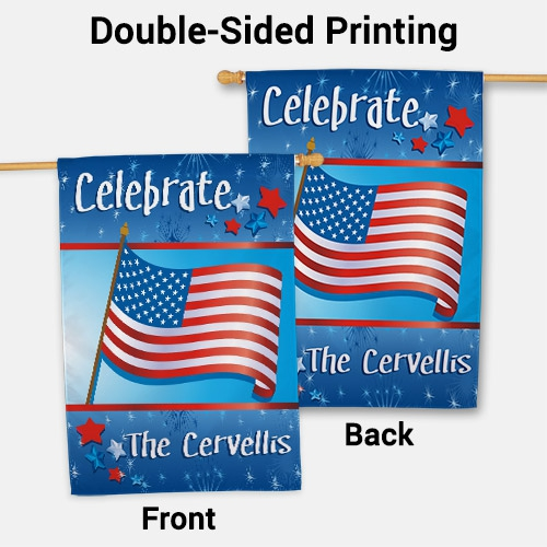 Personalized July 4th Celebration Personalized House Flag | Personalized House Flags