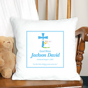 Blue God Bless Christening Personalized Throw Pillow | Personalized Christening Gifts