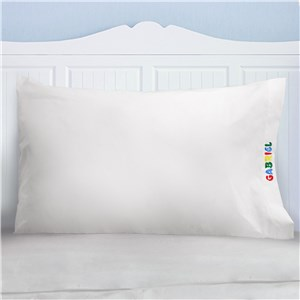 Embroidered Primary Name Pillowcase