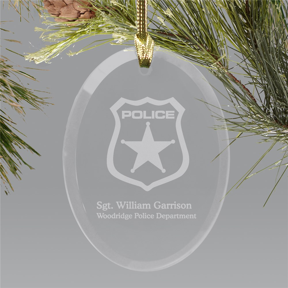 Police Officer Engraved Oval Glass Ornament | Personalized Police Ornaments