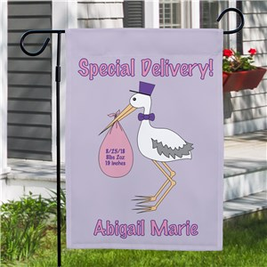 Special Delivery Baby Girl Announcement Garden Flag 83036972