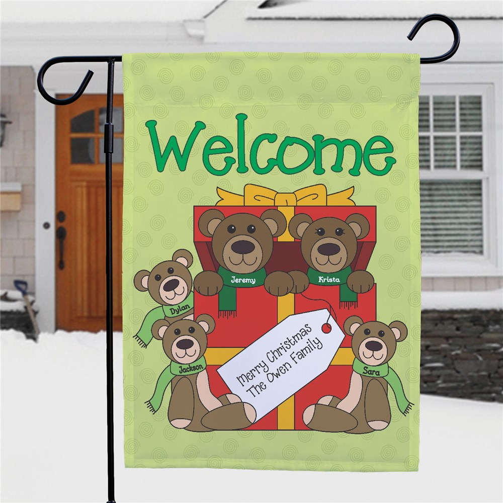 Teddy Bear Family Personalized Garden Flag | Personalized Christmas Flags