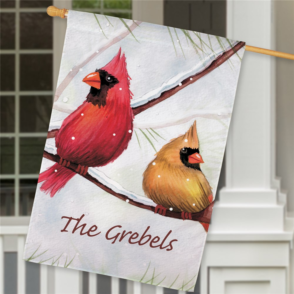 Personalized Cardinals House Flag | Personalized Christmas Flags