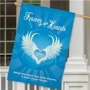 Personalized Forever In Our Hearts Memorial House Flag | Personalized house Flags