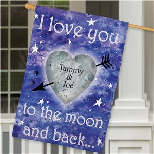 Personalized To The Moon and Back House Flag | Personalized House Flags