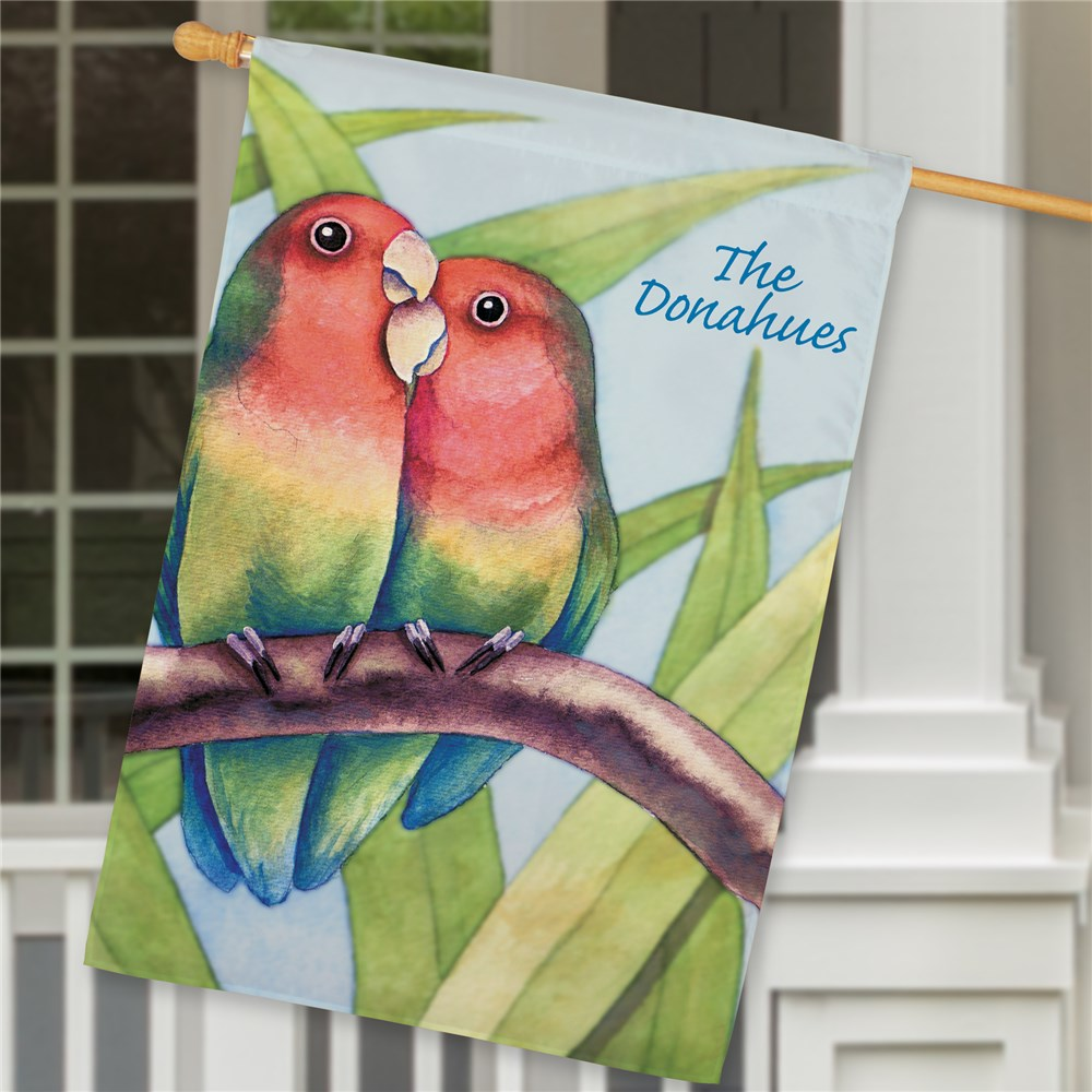 Personalized Love Birds House Flag | Personalized House Flags