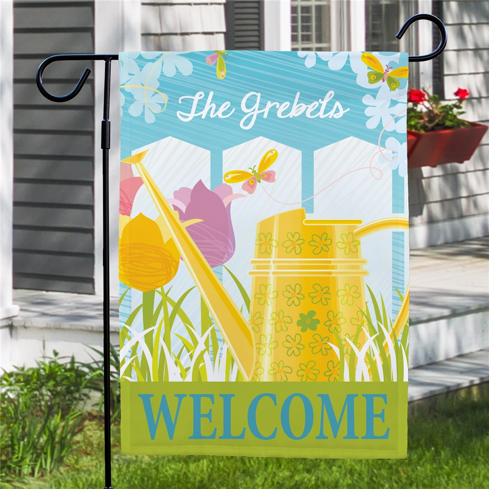 Personalized Watering Can Garden Flag | Personalized Garden Flags