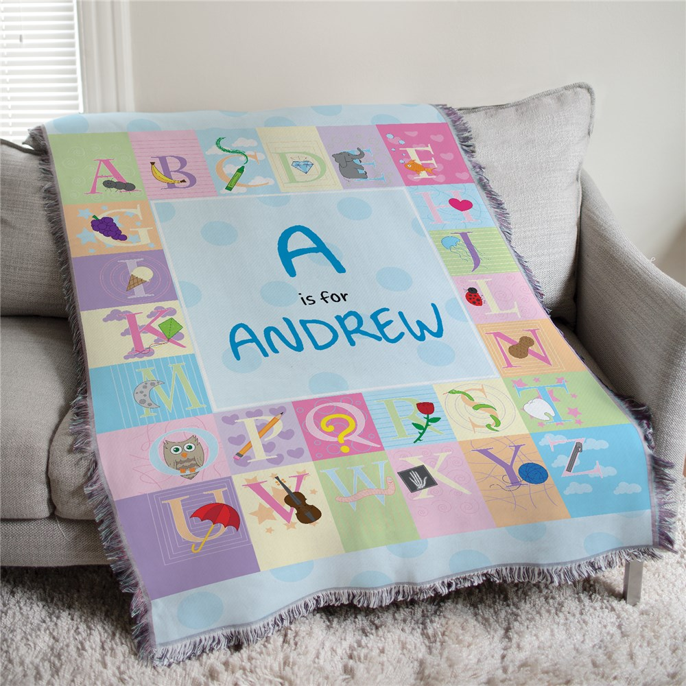 50x60 Personalized Blue Alphabet Baby Tapestry Throw Blanket