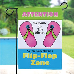 Personalized Flip Flop Zone Garden Flag | Personalized Garden Flags