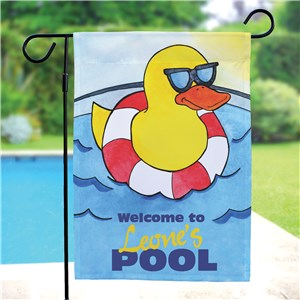 Personalized Cool Duck Swimming Pool Garden Flag | Personalized Garden Flags