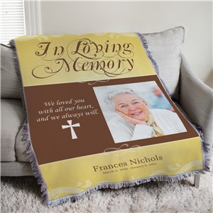 Personalized In Loving Memory Photo Throw Blanket | Personalized Memorial Gifts
