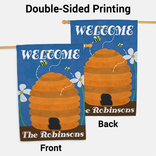 Personalized Beehive Welcome House Flag | Personalized House Flags