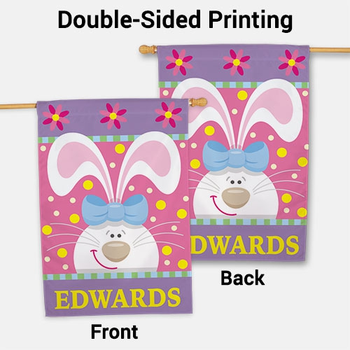Personalized Easter Bunny House Flag 83055442L