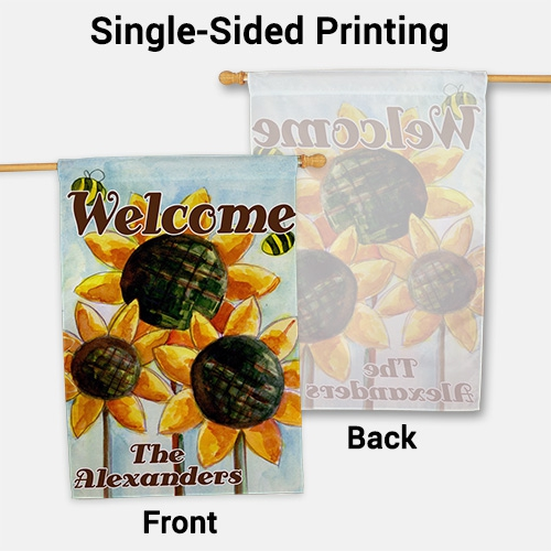 Personalized Sunflower Welcome House Flag | Personalized House Flags
