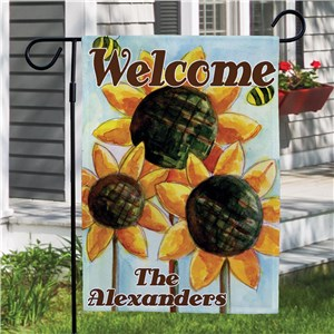 Personalized Sunflower Welcome Garden Flag | Personalized Garden Flags