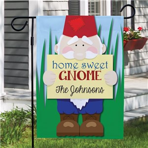 Personalized Home Sweet Gnome Garden Flag | Personalized Garden Flags