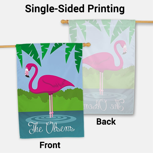 Personalized Pink Flamingo House Flag | Personalized House Flags