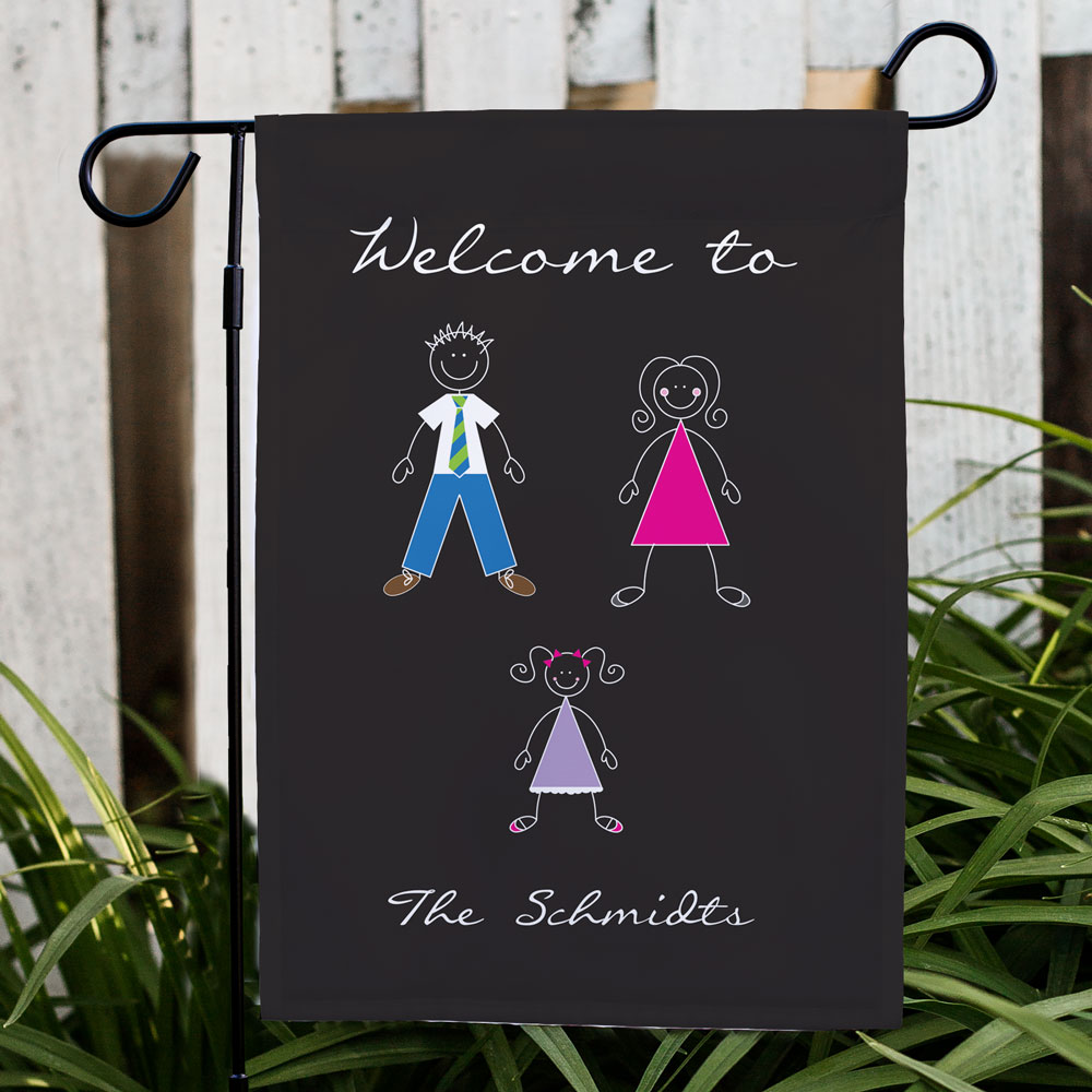 Stick Figure Family Garden Flag | Personalized Garden Flags