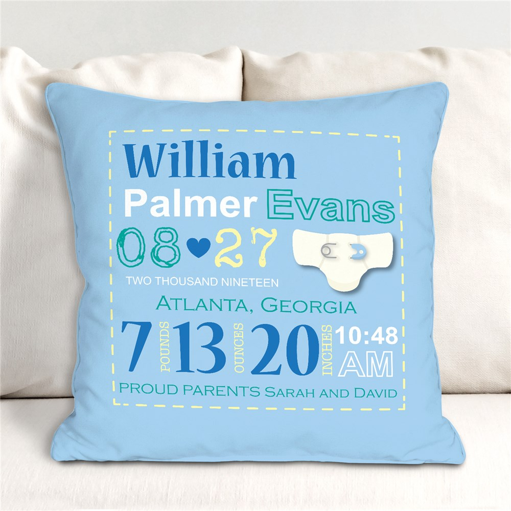 Personalized Boy Birth Announcement Throw Pillow | Personalized Baby Gifts