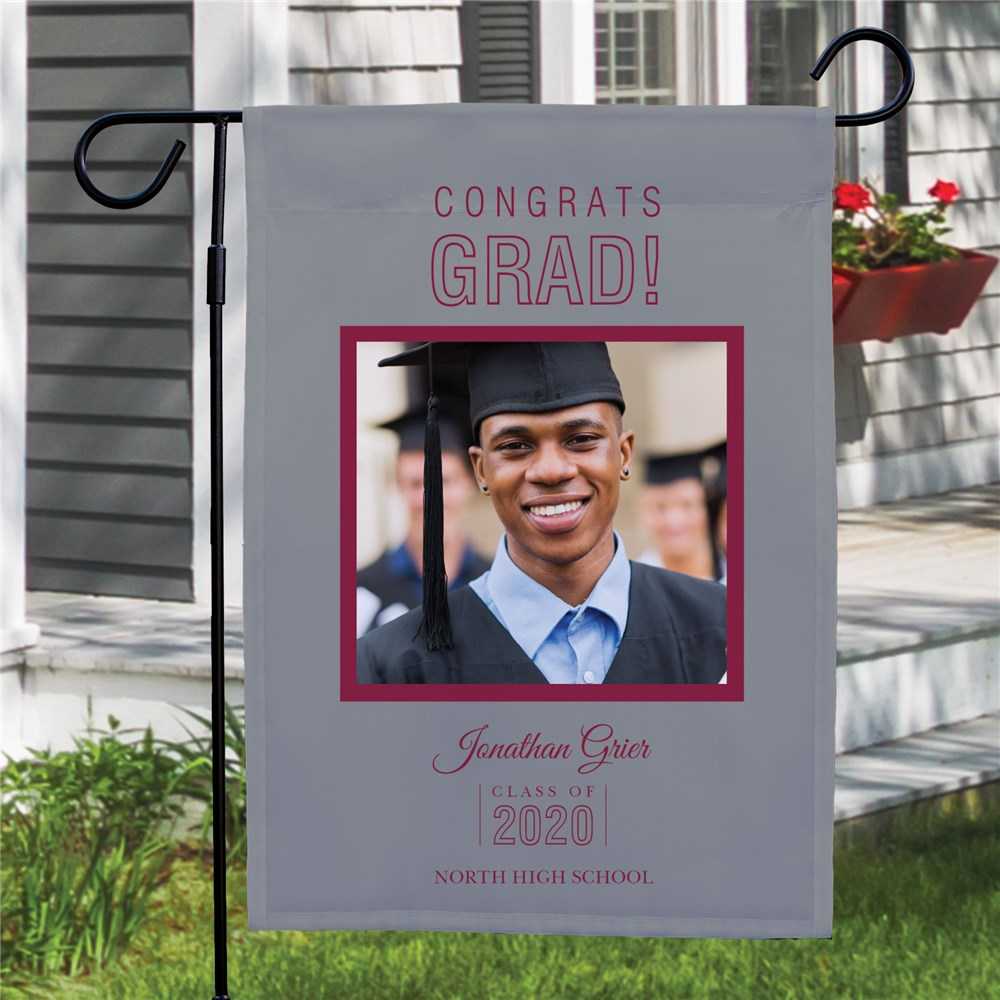 Personalized Congrats Grad Photo Garden Flag | Personalized Garden Flags