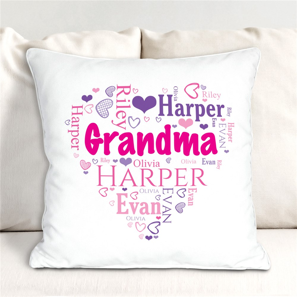 Grandma's Heart Word Art Throw Pillow | Personalized Gifts For Grandma