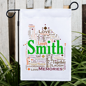 Welcome Home Word-Art Garden Flag