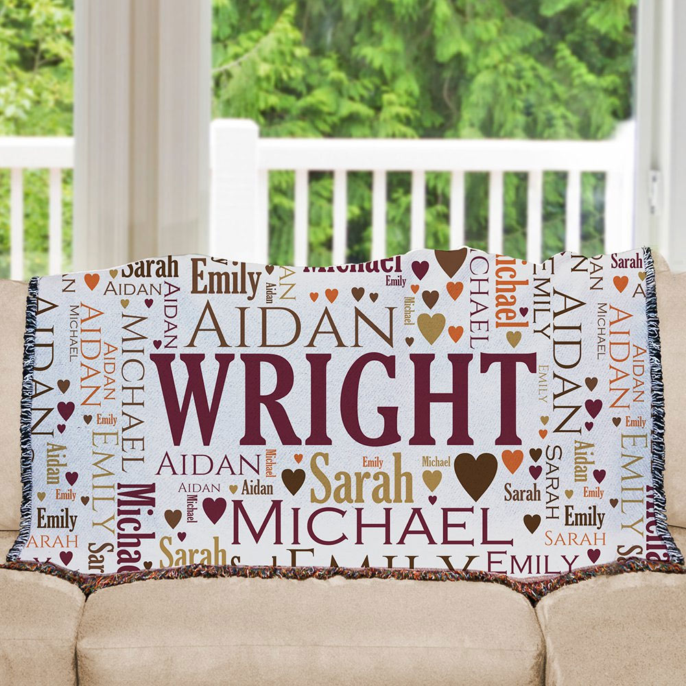 Family Word-Art Afghan | House Warming Gift