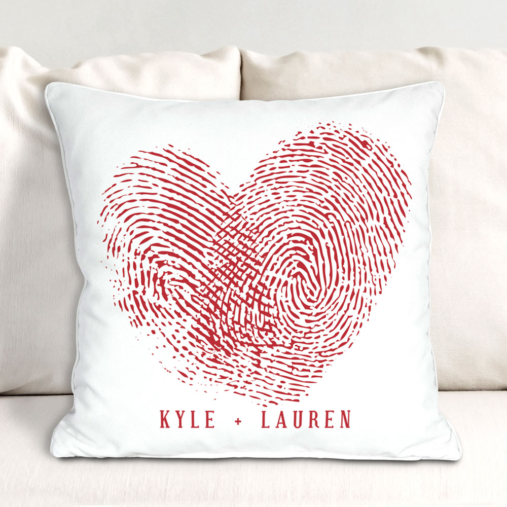 Couples Fingerprints Throw Pillow | Valentine Pillow Cases