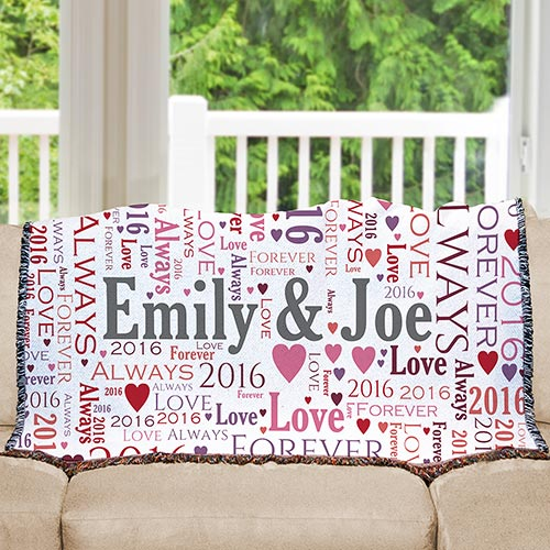 Loving Couple Word-Art Afghan | Personalized Afghan