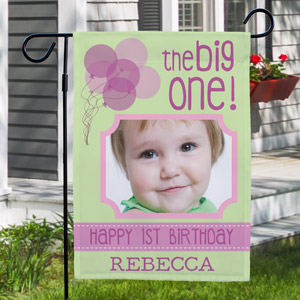 First Birthday Photo Garden Flag | Personalized Garden Flags
