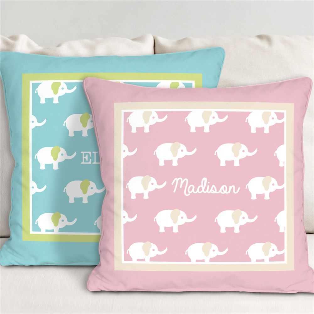 Personalized Baby Elephant Throw Pillow | Personalized Baby Pillow