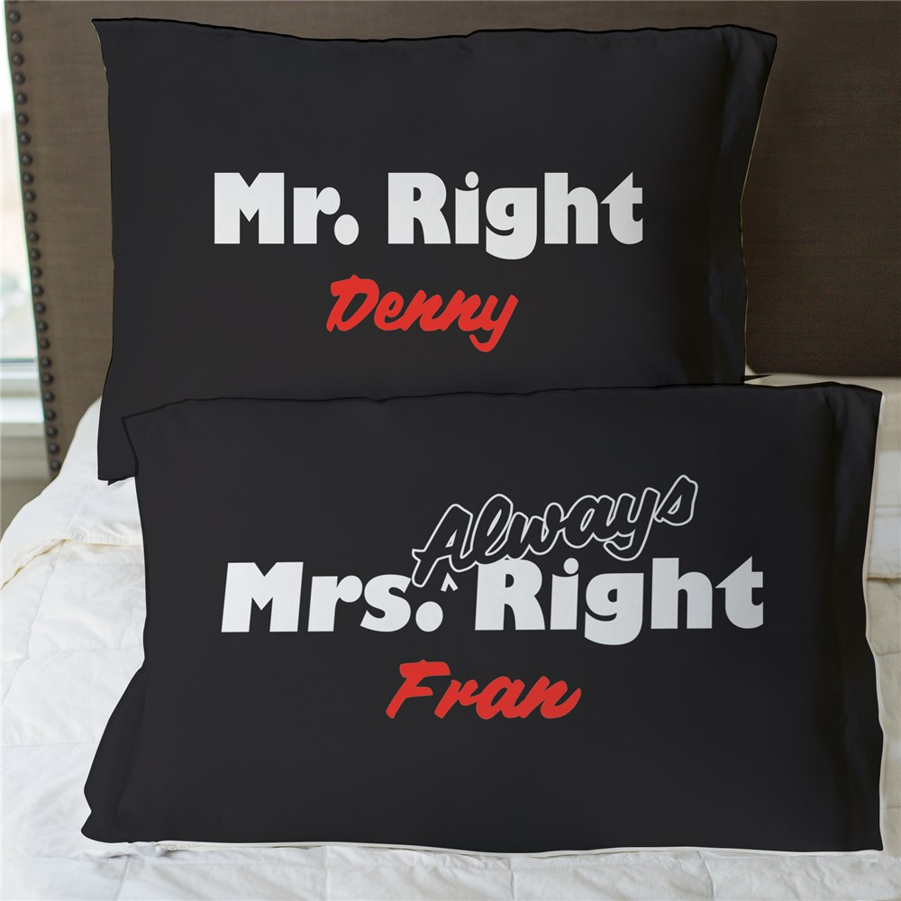 Personalized Mr. and Mrs. Right Pillowcase Set | valentine Pillow Cases