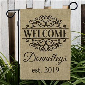 Established Filigree Burlap Garden Flag | Unique Housewarming Gifts