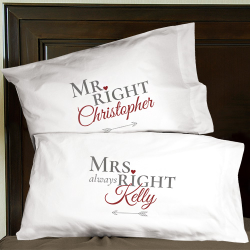 Personalized Mr. Right and Mrs. Always Right Pillowcases | Valentine Pillow Cases
