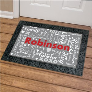 Personalized Valentine Word Art Doormat | Romantic Home