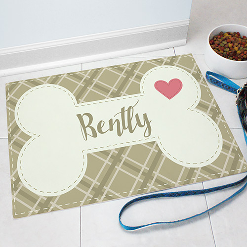 Personalized Dog Bone or Fish Pet Mat | Personalized Pet Mat