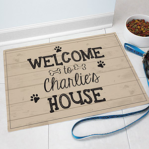 Personalized Welcome Pet Food Mat | Personalized Pet Mat