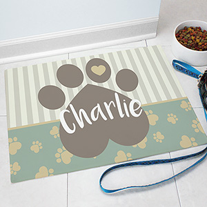Personalized Heart Paw Pet Food Mat | Personalized Pet Mat