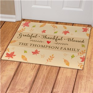Grateful, Thankful, Blessed Leaves Doormat | Personalized Doormat