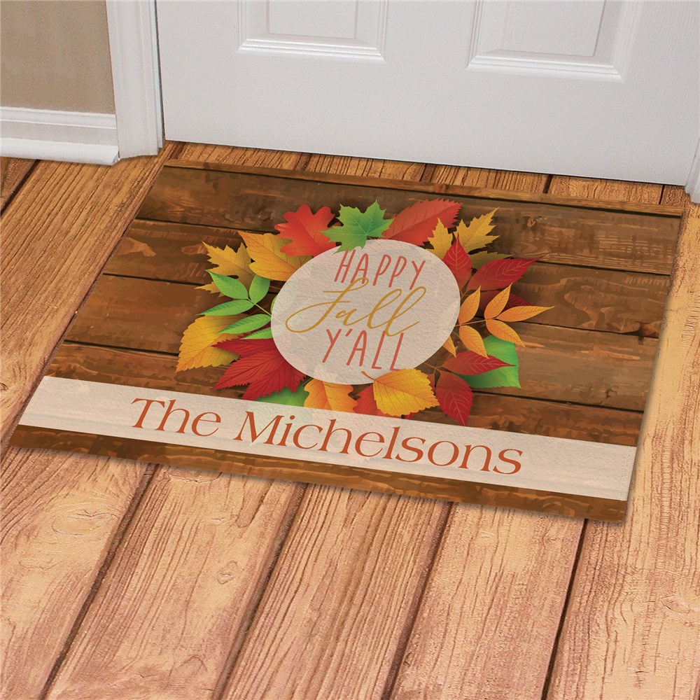 Personalized Happy Fall Y'all Doormat | Personalized Doormat