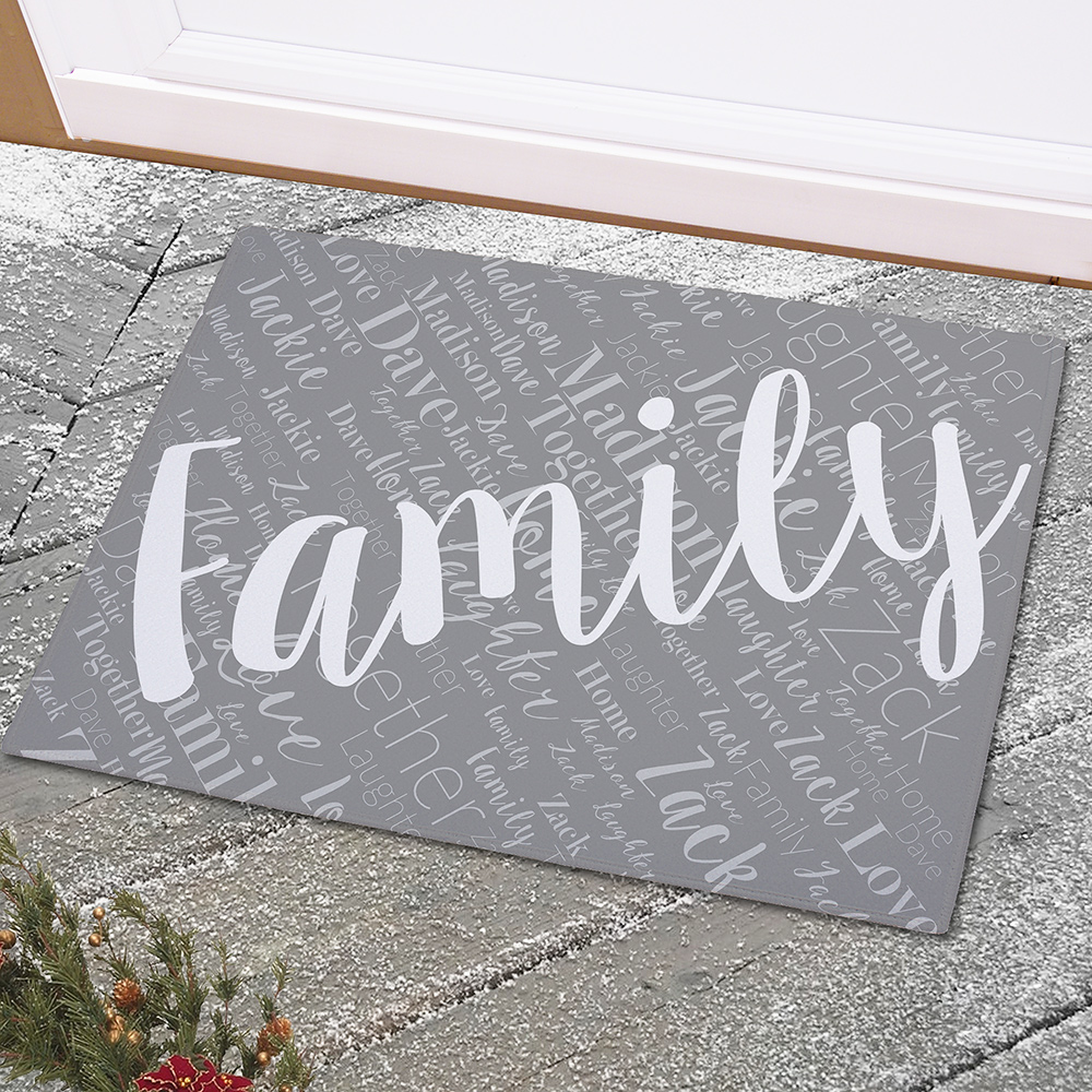 Personalized Family Word-Art Doormat | Personalized Doormat