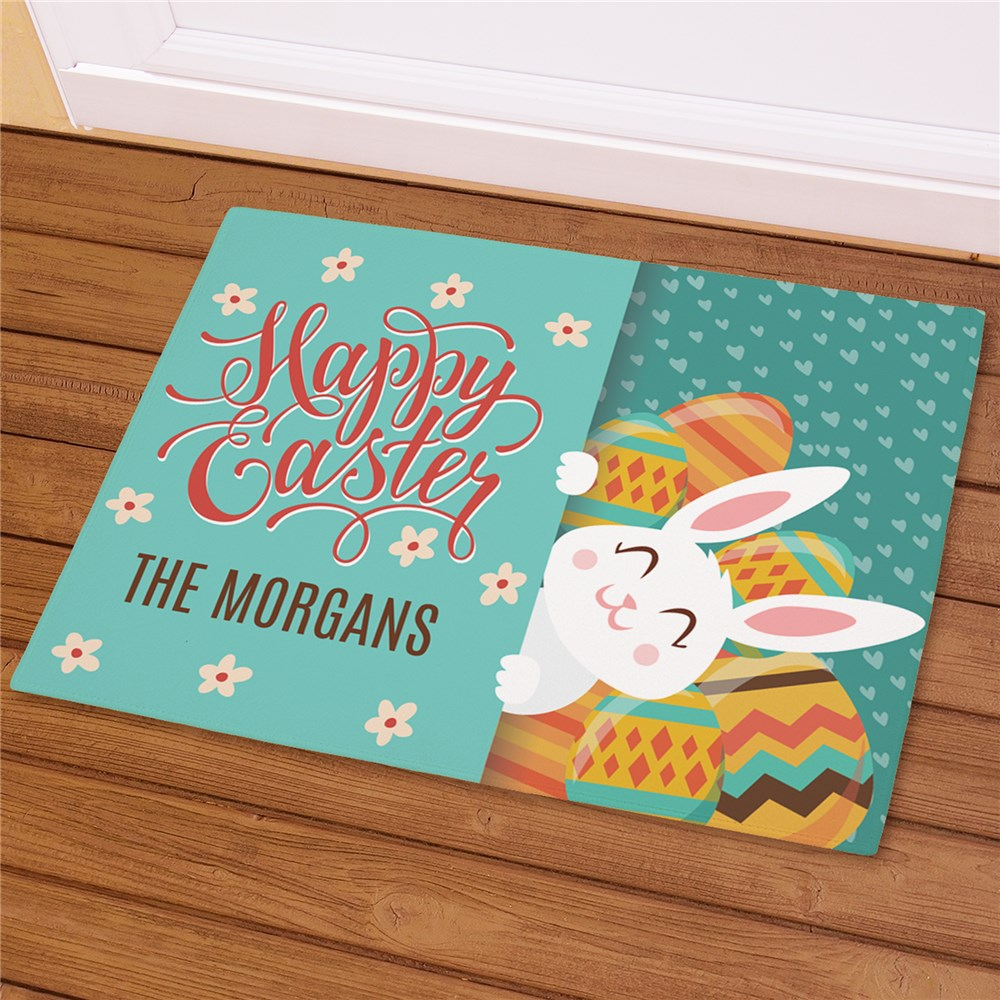 Personalized Happy Easter with Bunny Doormat | Personalized Easter Welcome Mat