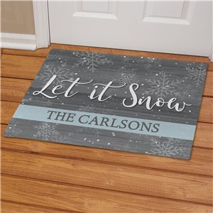 Grey and White Let It Snow Doormat With Name | Let It Snow Doormat Personalized
