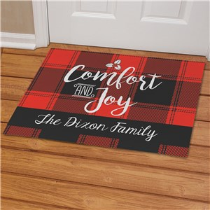 Personalized Buffalo Plaid Christmas Doormat | Personalized Christmas Doormat