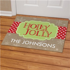 Personalized Holly Jolly Doormat | Personalized Door Mats